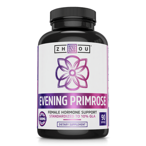 Zhou Nutrition Evening Primrose Female Hormonal Support Supplement. Bottle front.