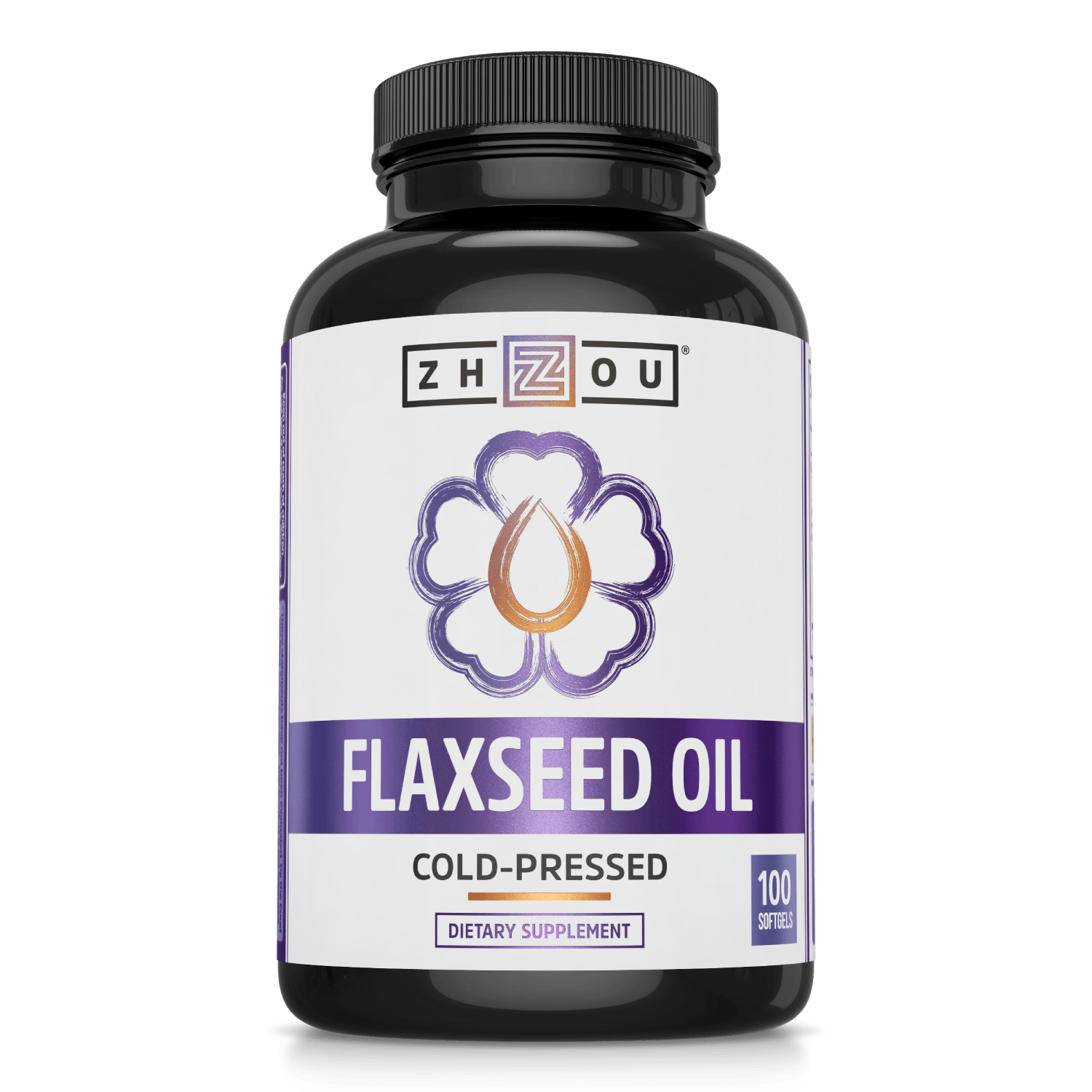 Zhou Nutrition Flaxseed Oil Cold-Pressed Softgels. Bottle front.
