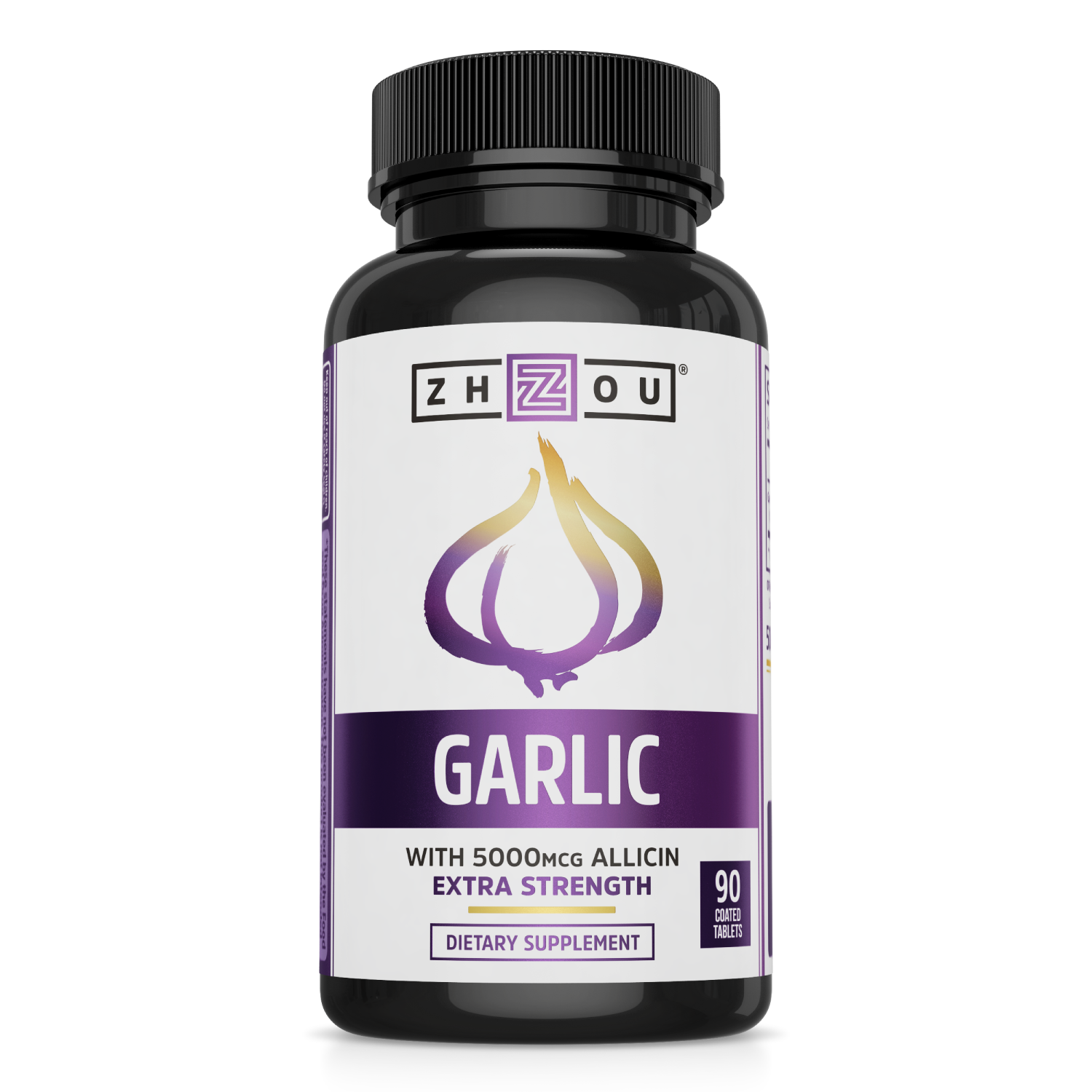 Garlic with 5000mcg Allicin from Zhou Nutrition. Bottle front.