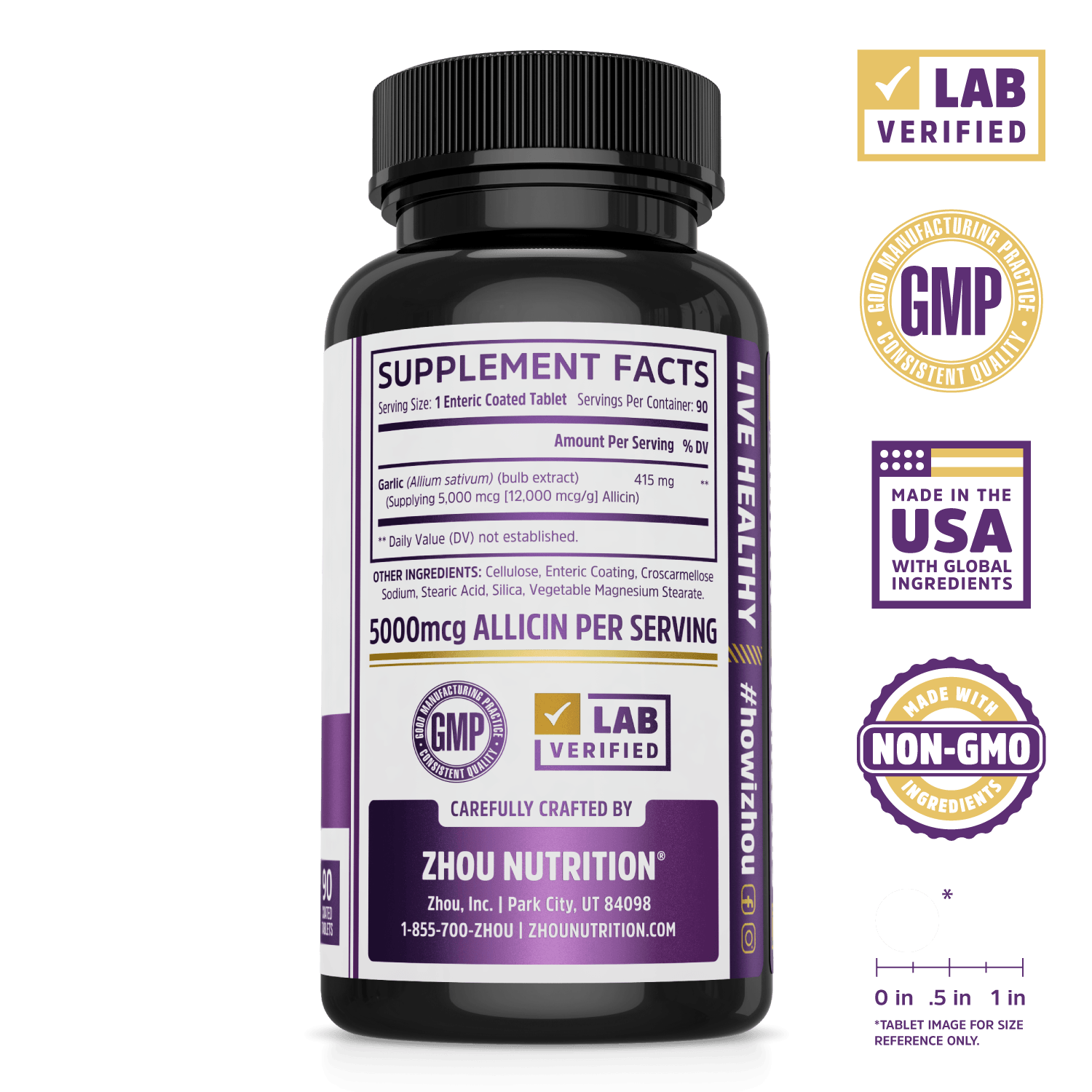 Zhou Nutrition Garlic Supplement with Allicin. Lab verified, good manufacturing practices, made in the USA with global ingredients, made with non-GMO ingredients