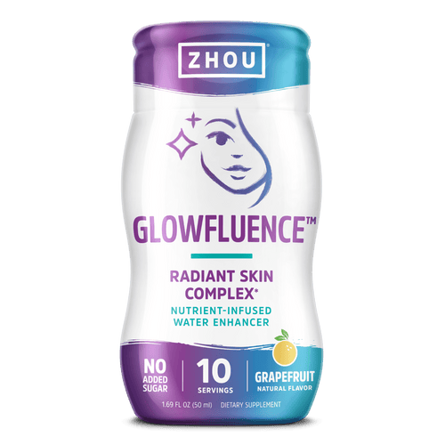 Zhou Nutrition Glowfluence water enhancer supplement for radiant skin, grapefruit flavor. Bottle front.