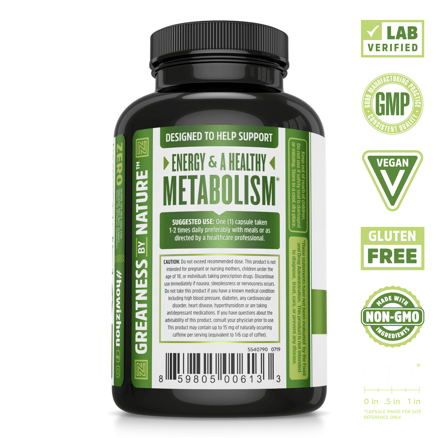 Green Tea Supplement for Gentle Caffeine. Lab verified, good manufacturing practices, vegan, gluten free, made with non-GMO ingredients