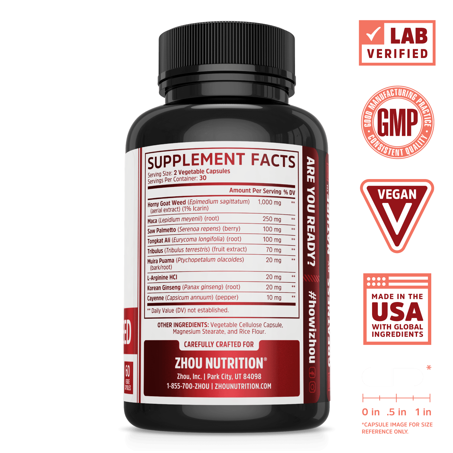 Zhou Nutrition Horny Goat Weed energy and vitality supplement. Bottle side. Lab verified, good manufacturing practices, vegan, made in the USA with global ingredients.