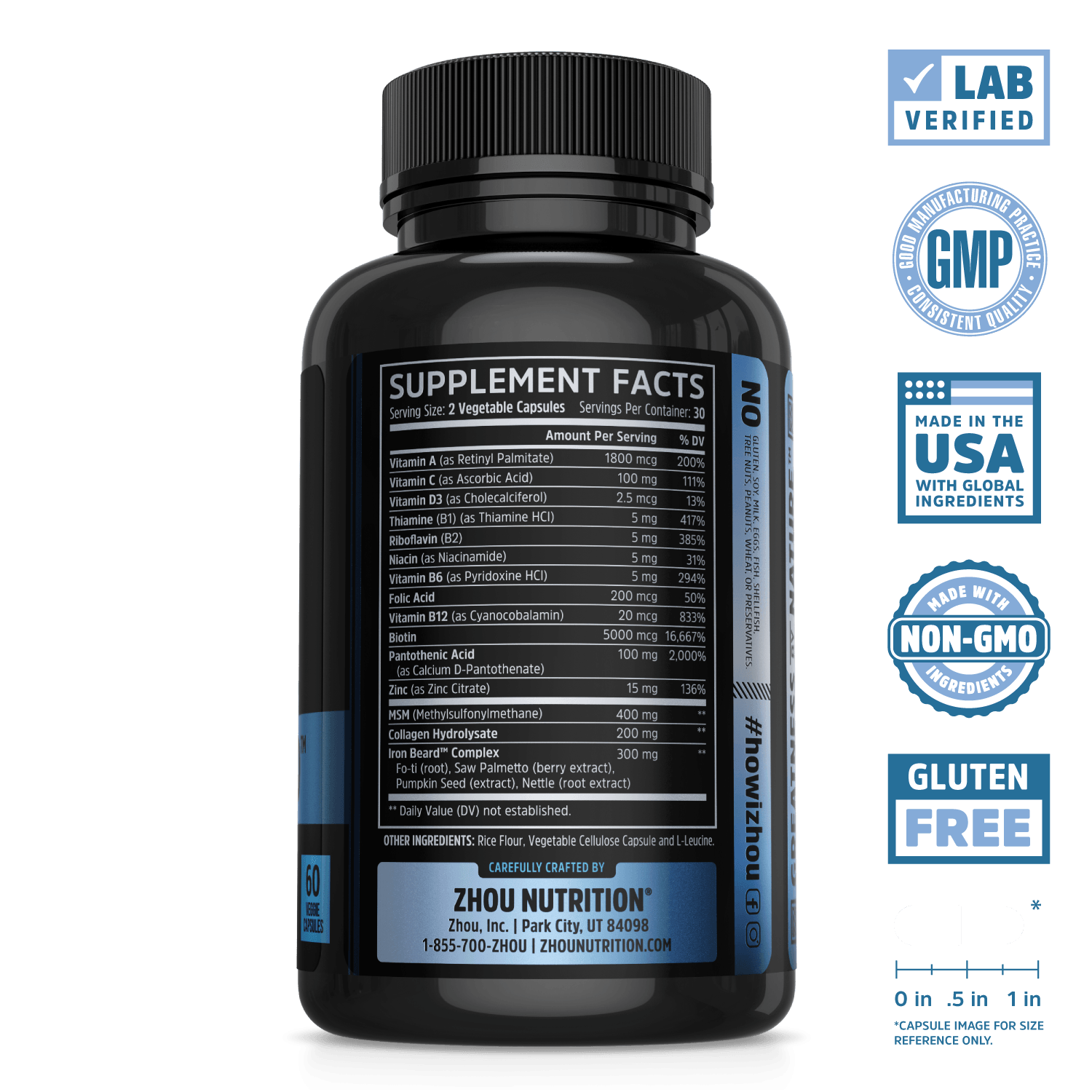Iron Beard Supplement from Zhou Nutrition. Lab verified, good manufacturing practice, made in the USA with global ingredients, made with non-GMO ingredients, gluten free