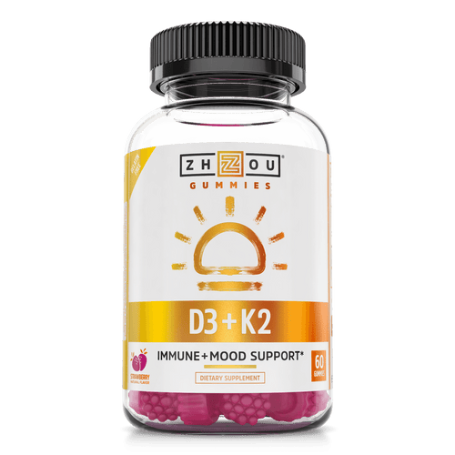 Vitamin D3 and Vitamin KS gummies from Zhou Nutrition, immune, mood, heart, and bone support. 60 gummies, strawberry flavor.