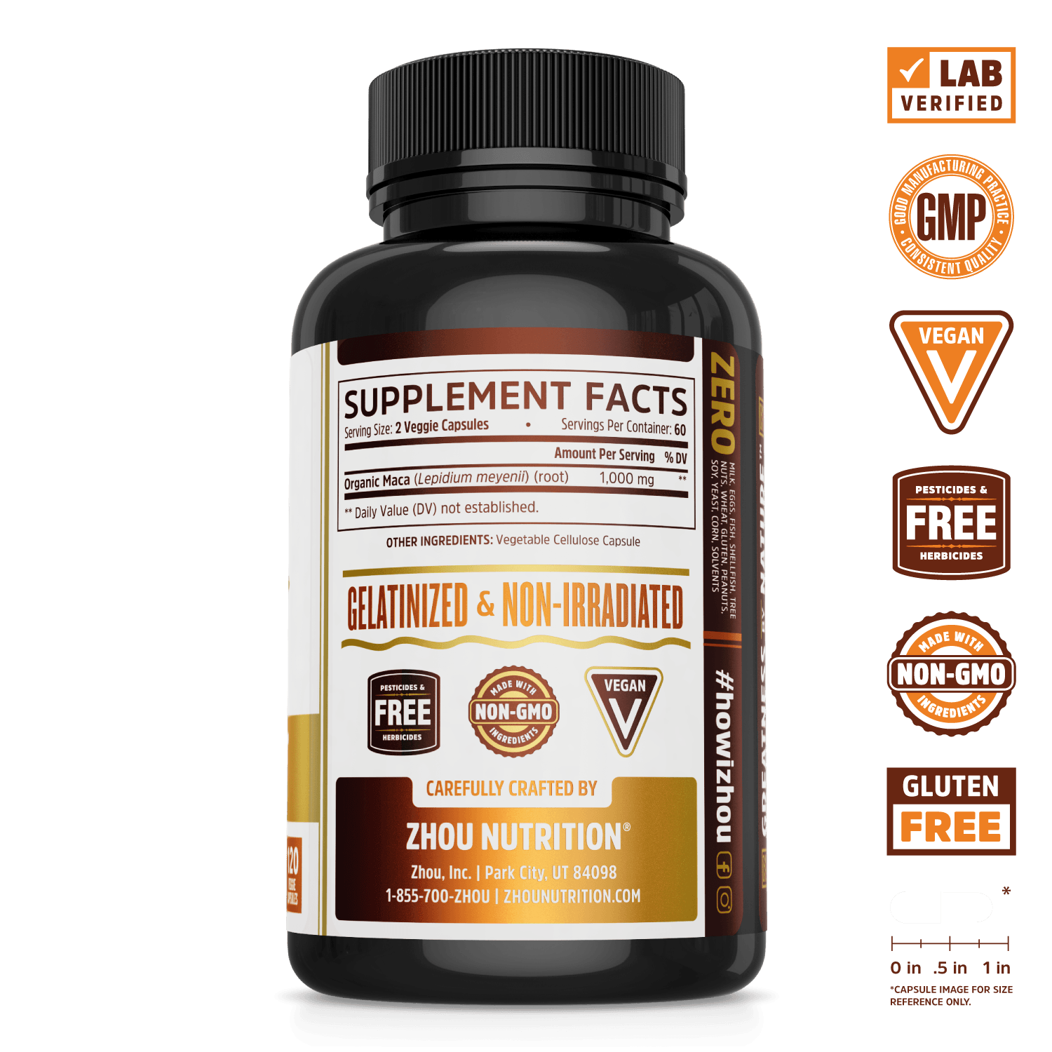 Zhou Nutrition gelatinized non-irradiated Maca Root supplement. Lab verified, good manufacturing practices, vegan, organic maca, made with non-GMO ingredients, gluten free