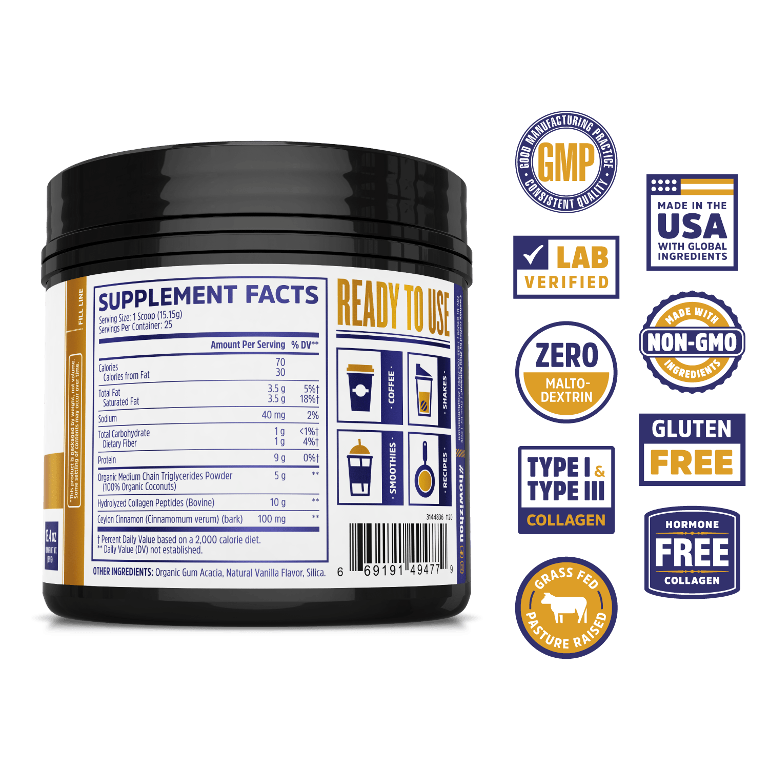 Zhou Nutrition MCT Collagen powder supplement. Lab verified, good manufacturing practices, made in the USA with global ingredients, made with non-GMO ingredients, gluten free