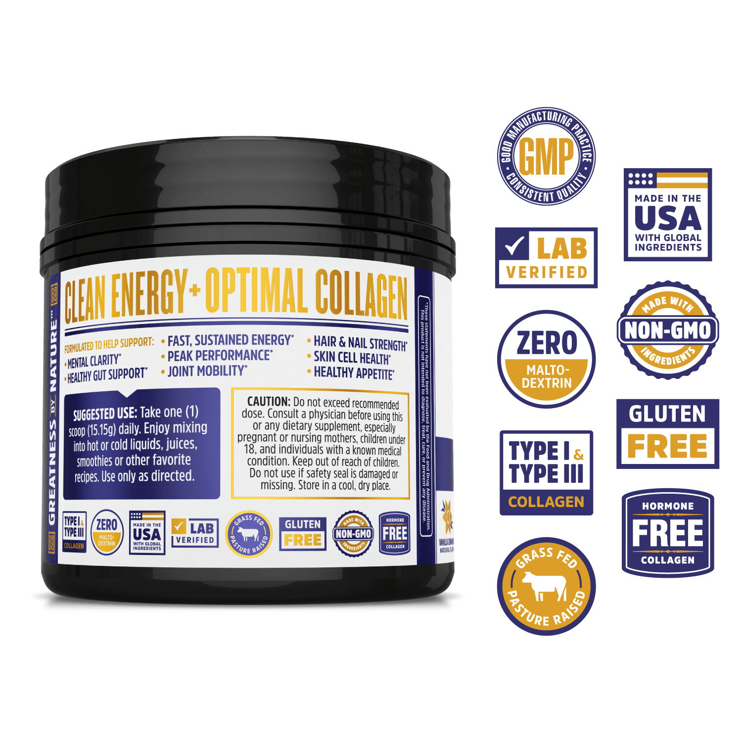 MCT & Collagen Powder from Zhou Nutrition, ketogenic energy and protein. Lab verified, good manufacturing practices, made in the USA with global ingredients, made with non-GMO ingredients, gluten free