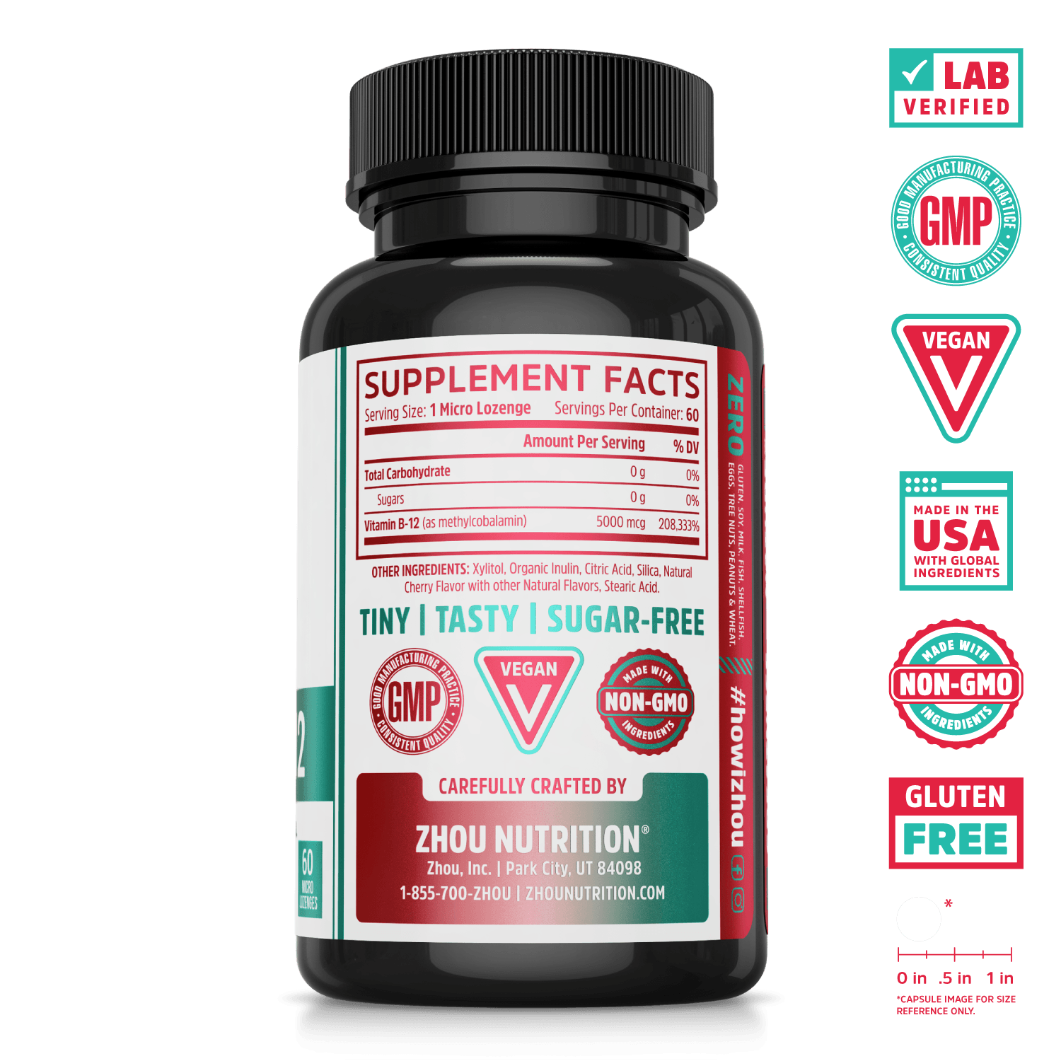Zhou Nutrition Methyl B-12 sublingual supplement cherry flavor. Lab verified, good manufacturing practices, vegan, made in USA with global ingredients, made with non-GMO ingredients, gluten free.