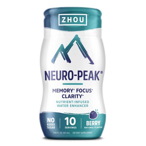 Zhou Neuro-Peak Water Enhancer Supplement for Memory Focus & Clarity, Berry flavor