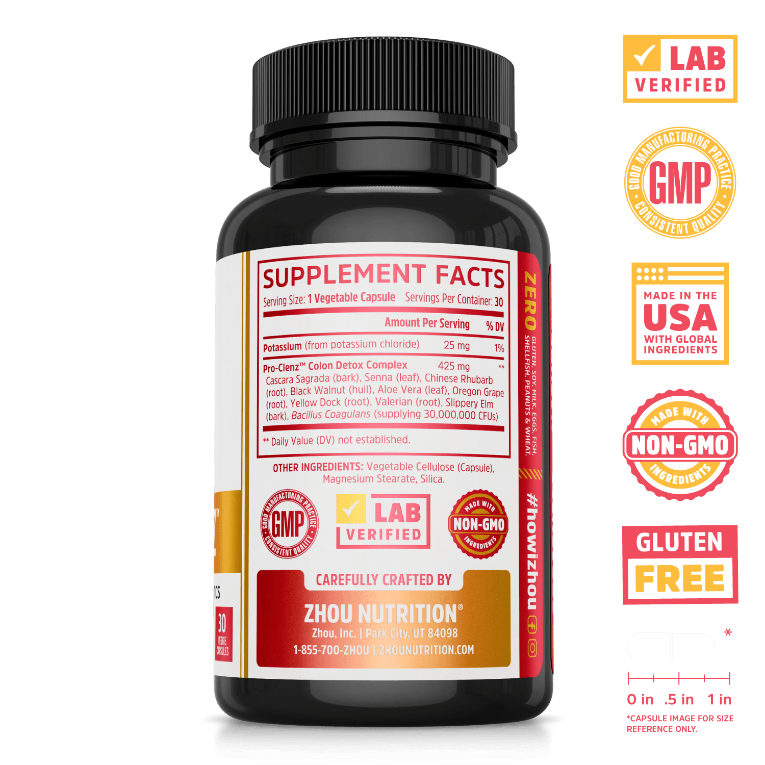 Zhou Nutrition Pro-Clenz Colon Detox Complex with Probiotics. Lab verified, good manufacturing practices, made in the USA with global ingredients, made with non-GMO ingredients, gluten free.