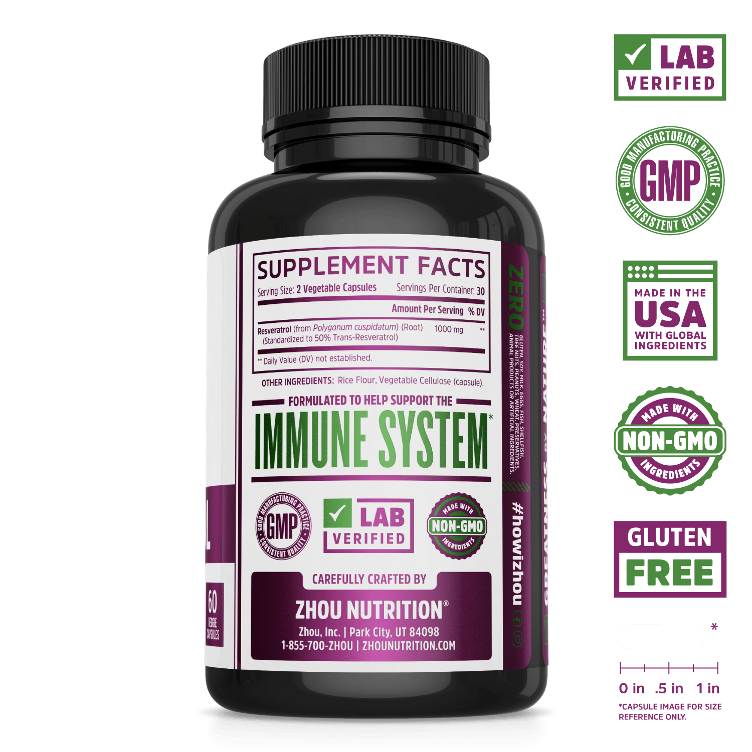 Zhou Nutrition High Potency Resveratrol Capsules. Lab verified, good manufacturing practices, made in the USA with global ingredients, made with non-GMO ingredients, gluten free