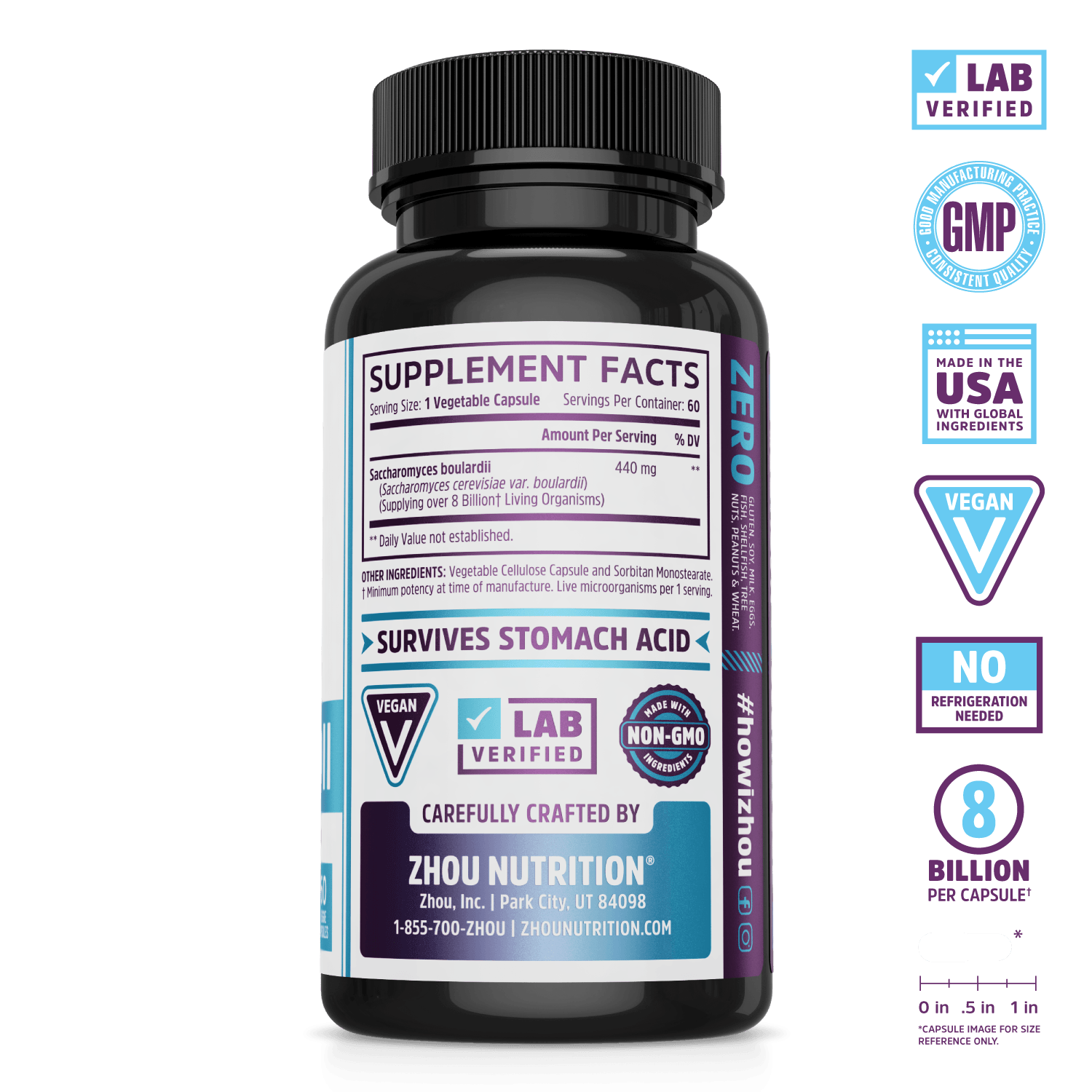 S. Boulardii Probiotic for Gut Health. Lab verified, good manufacturing practices, made in the USA with global ingredients, vegan, no refrigeration needed, 8 billion per capsule