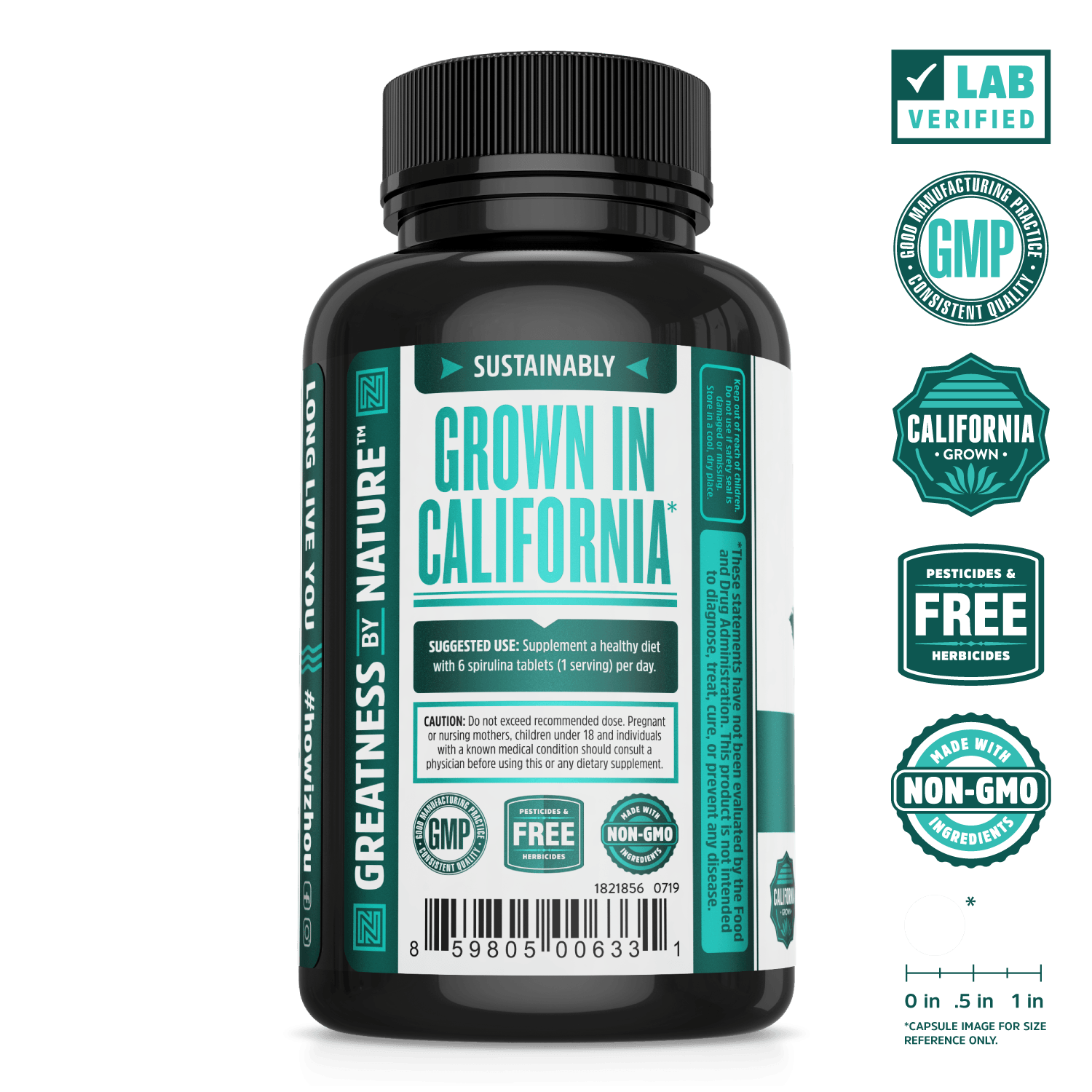 Zhou Nutrition Sustainably Grown Spirulina Tablets. Lab verified, good manufacturing practices, california grown, pesticides & herbicides free, made with non-GMO ingredients