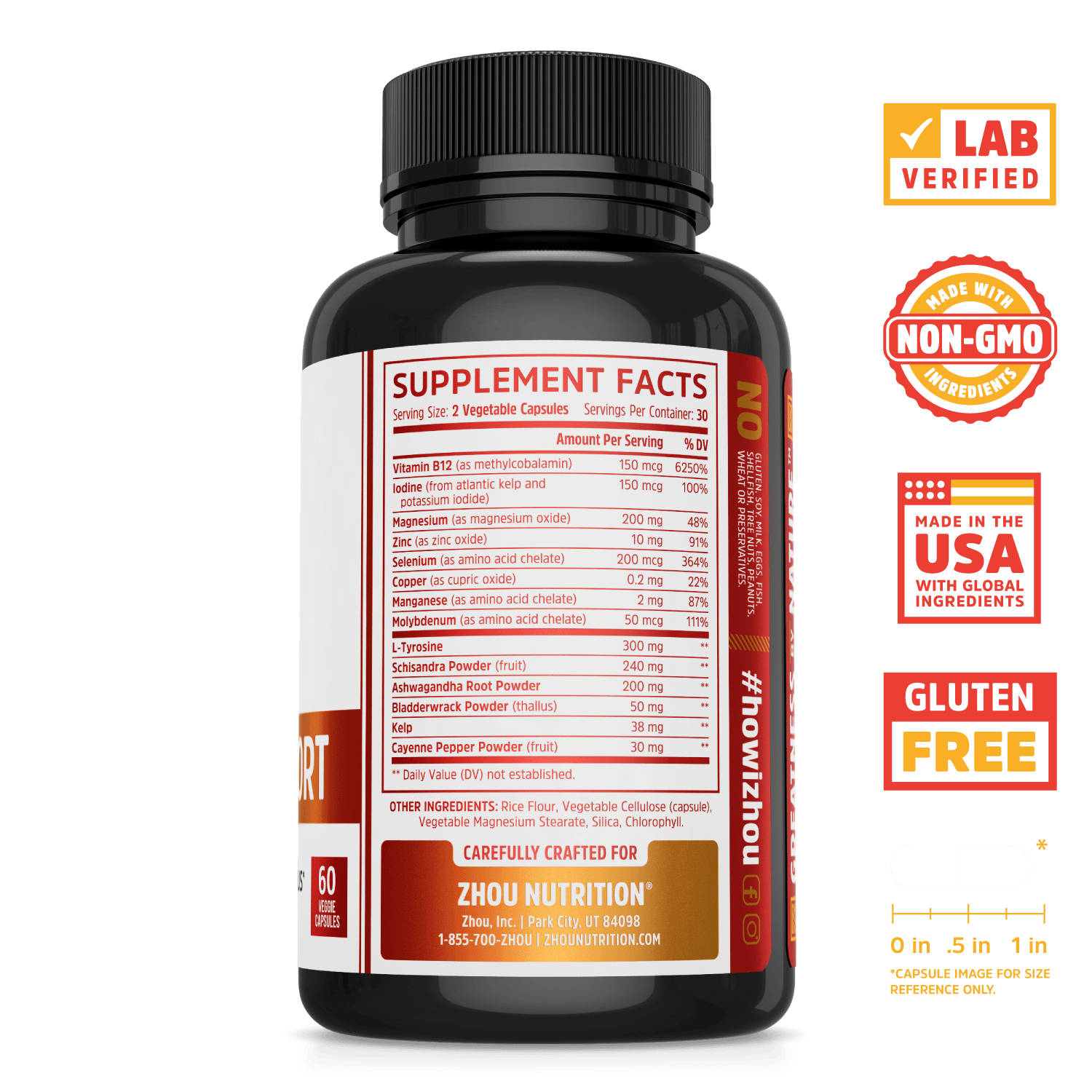 Zhou Nutrition Thyroid Support Complex. Bottle side. Lab verified, made with non-GMO ingredients, made in the USA with global ingredients, gluten free.