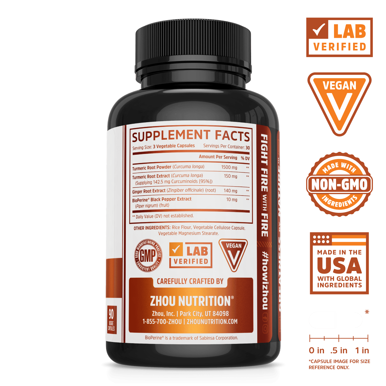 Zhou Nutrition Turmeric Curcumin to Support Mobility. Bottle side. Lab verified, vegan, made with non-GMO ingredients, made in the USA with global ingredients.