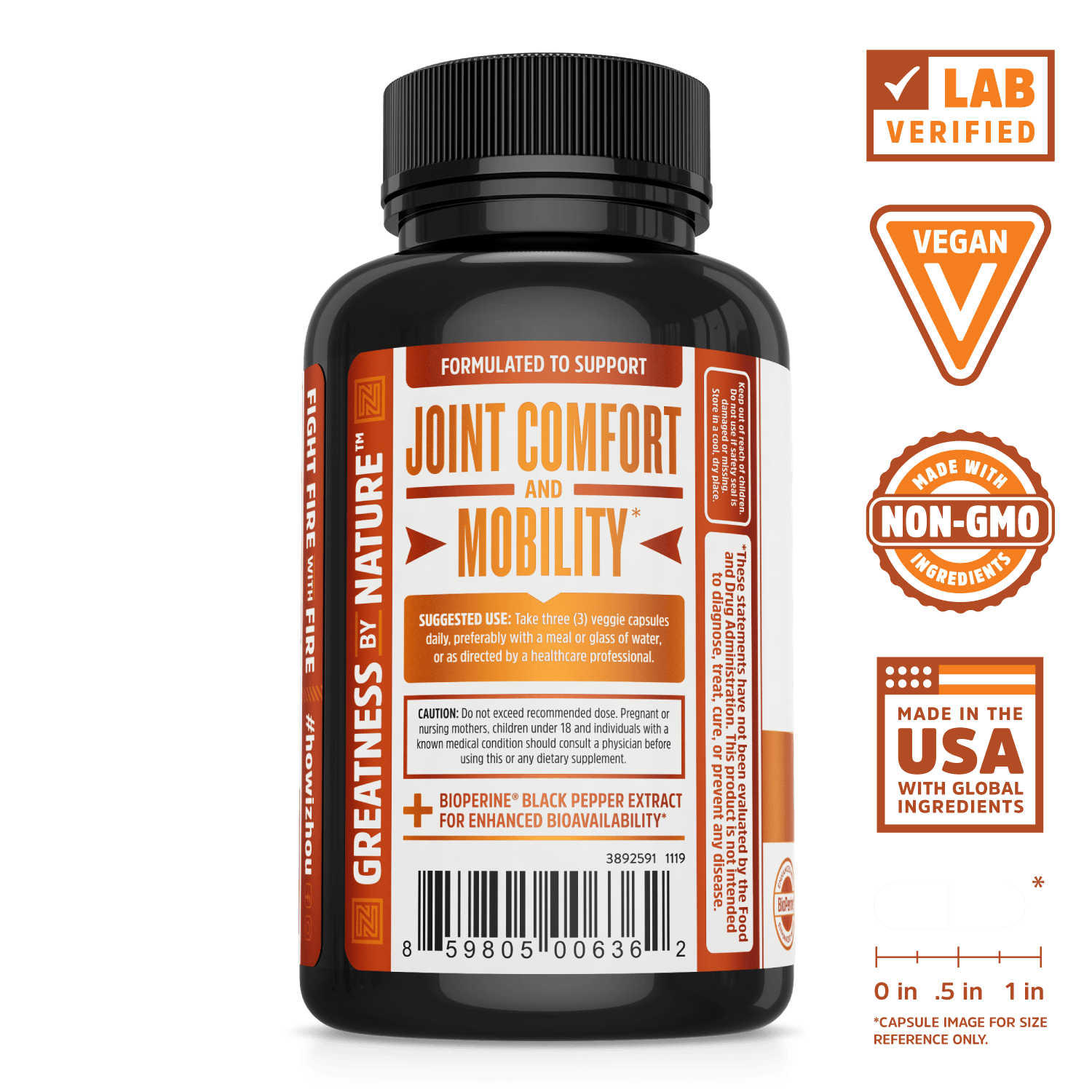 Zhou Nutrition Turmeric Curcumin with 95% Standardized Curcuminoids. Bottle side. Lab verified, vegan, made with non-GMO ingredients, made in the USA with global ingredients.