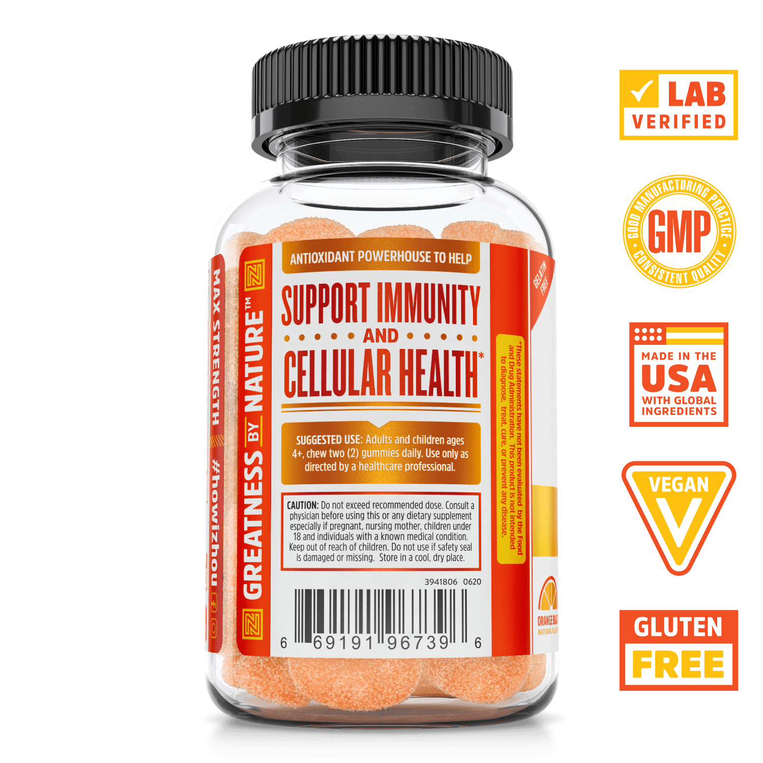 Zhou Nutrition Max Strength Vitamin C+ Gummies.  Bottle side. Lab verified, good manufacturing practices, made in the USA with global ingredients, vegan, gluten free.