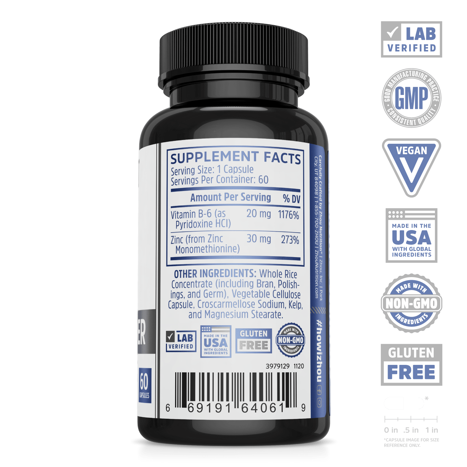 Zinc Defender supplement from zhou nutrition. Lab verified, GMP, vegan, made in the USA with global ingredients, made with non-GMO ingredients, gluten free.