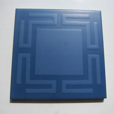 PD13 Vintage Blue Greek Key Floor Tile