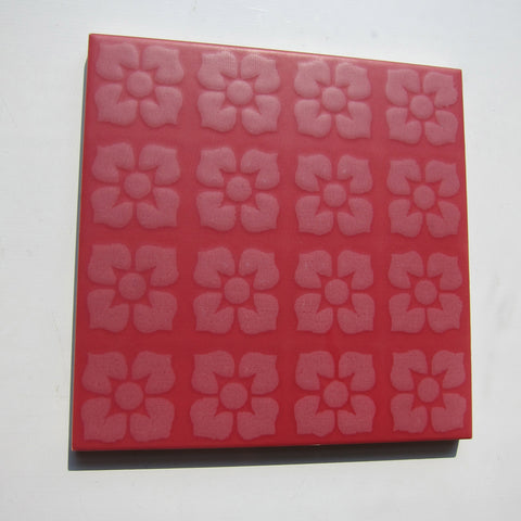 PD24 Vintage Red Floral Floor Tile