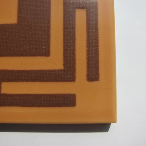 PD55 Vintage Brown Greek Key Floor Tile
