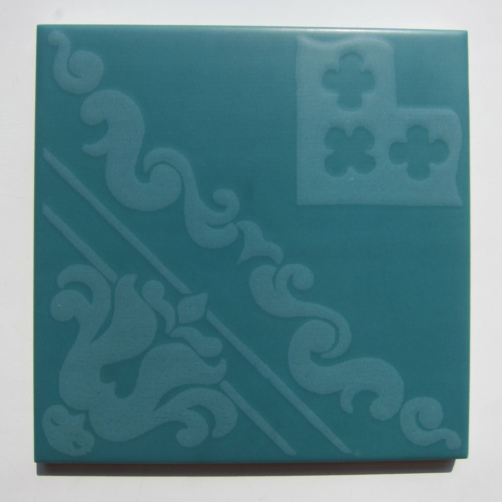 PD72 Vintage Scarf Print Green Floor Tile