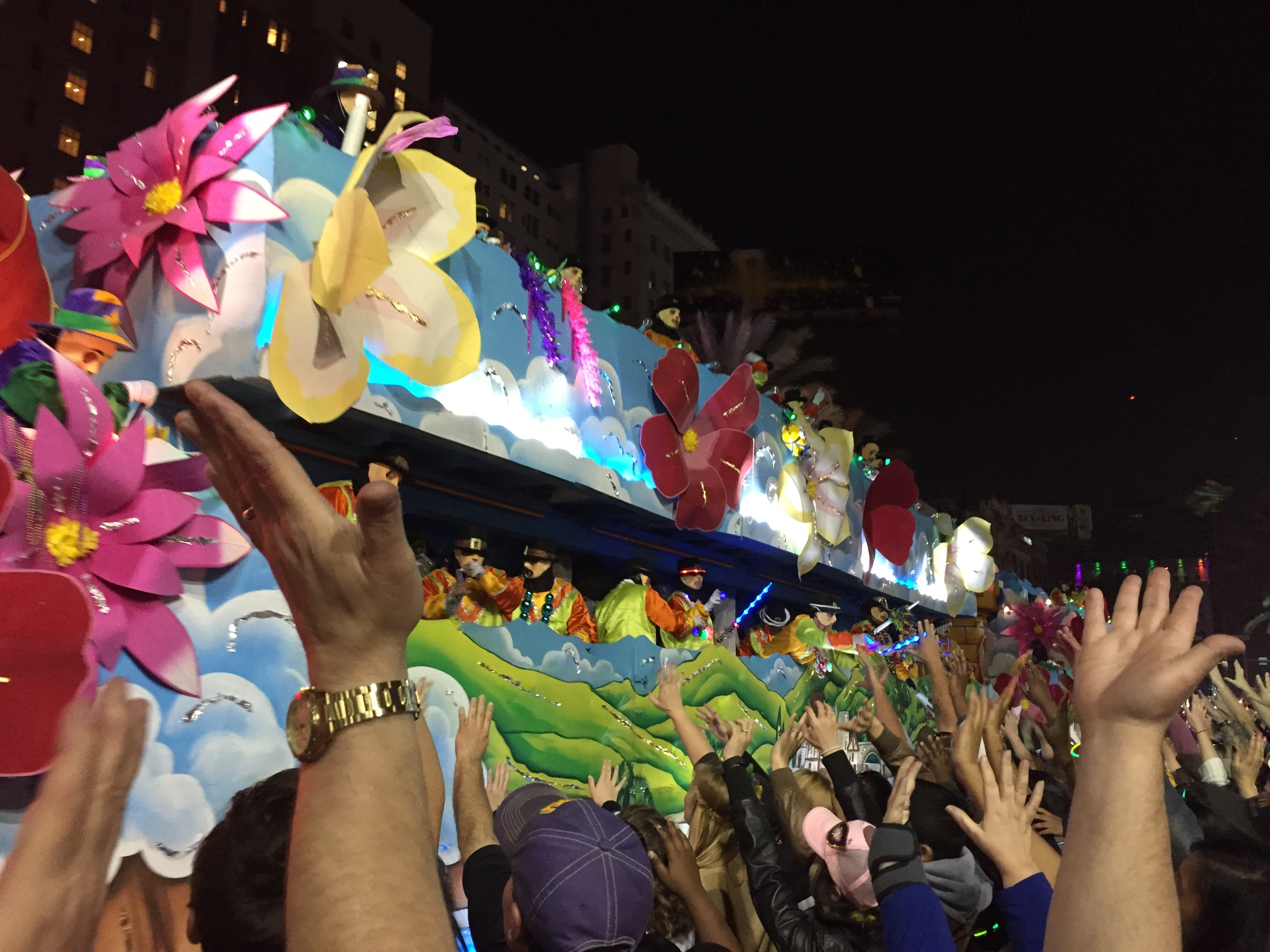 bacchus parade, canal street, mardis gras, new orleans, lousiana