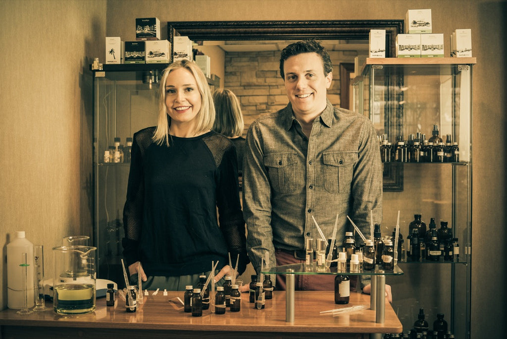 Agnieszka and Ben collaborate in the lab, each specialized in a different aspect of the perfume process.