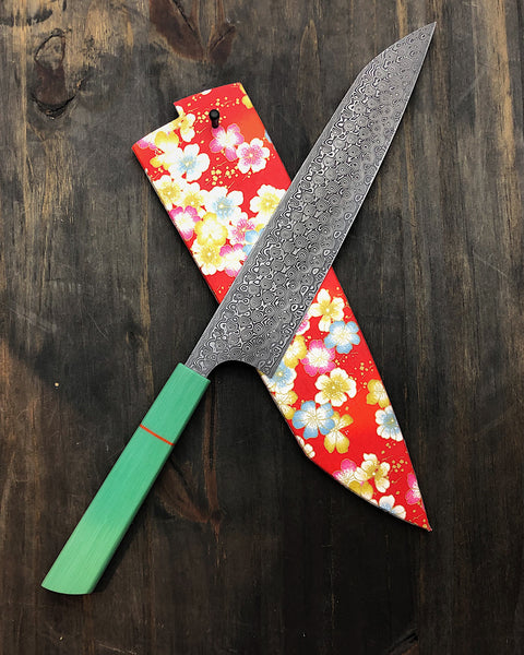 Handmade Chefs Knife with Aqua Composite Handle