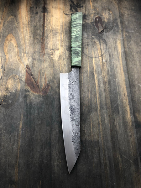 Handmade Chefs Knife with Quilted Maple Handle