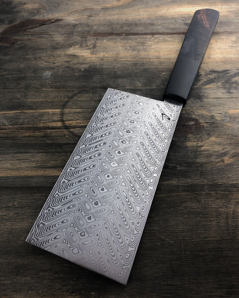 136mm Damasteel Veggie Cleaver with Hawaiian Koa/Resin Hybrid Handle