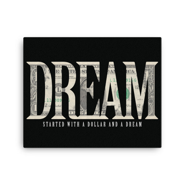 dream wall art, started with a dollar and a dream canvas