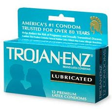Trojan-Enz Lubricated Latex Condoms 12's - OutpatientMD.com