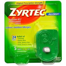 Zyrtec 24 Hour Allergy Relief Tablets 10MG 5 ea