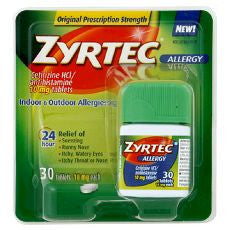 Zyrtec Allergy, Tablets 10mg 30 Tablets