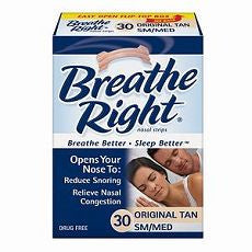 Breathe Right Nasal Strips, SM/MED, Tan 30 ea - OutpatientMD.com