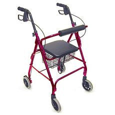 "Rollator Aluminum Burgundy with 6"" Casters"