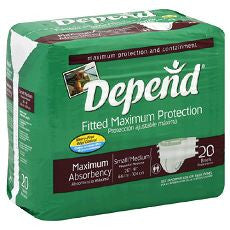 Depends Fitted Maximum Protection Briefs S/M