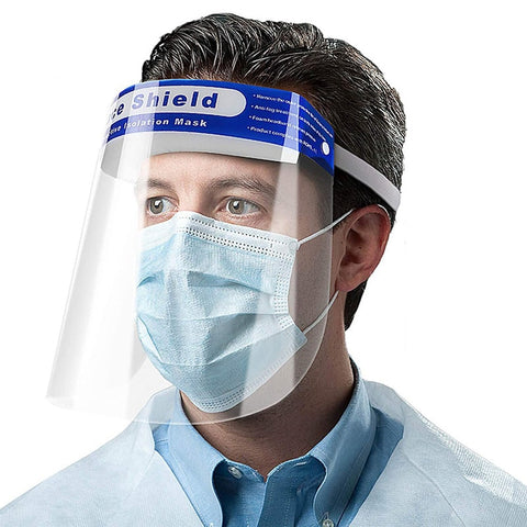 Face Shields with Elastic Band, Latex Free, Full Length, Clear - 500/Case