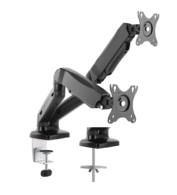 Klip Xtreme KPM-312 - Adjustable arm for 2 LCD displays - plastic, aluminum, steel