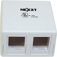 Nexxt Unloaded Surface Mount Box 2 Port White