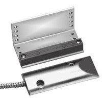 "S-A Overhead Door-Mount N.C. Magnetic Contact. Magnet mounted on ""L"" bracket, contact in die-cast aluminum housing with pre-wired 24"" leads, flexible stainless-steel cable. 2¾"" Gap. UL Listed."