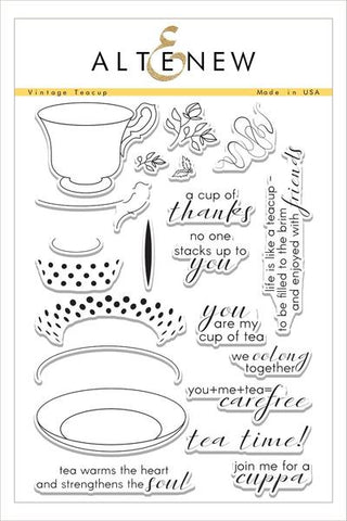 VINTAGE TEACUP STAMP SET