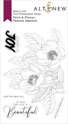 PAINT A FLOWER PEONIA JAPONICA OUTLINE