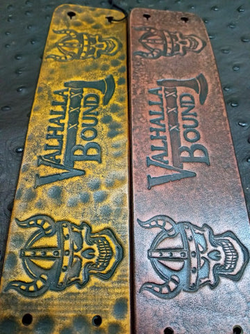 "2"" Valhalla Bound Viking Stamped Leather Bracelet"