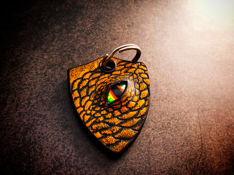 Dragon Keychain One Sided Leather - Yellow