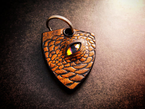 Dragon Keychain One Sided Leather - Brown