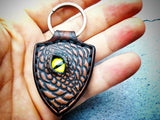 Dragon Keychain Hand Stitched Leather - Brown