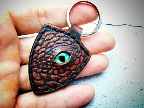 Dragon Keychain Hand Stitched Leather - Red W/Gold Wash